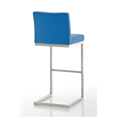 Taburete de Diseño Para Barra PARROT, En Piel Azul y Estructura en Acero Inoxidable, Gran Acolchado