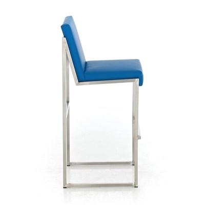 Taburete Para Barra MALAK, En Piel Azul y Estructura de Acero Inoxidable, Gran Calidad