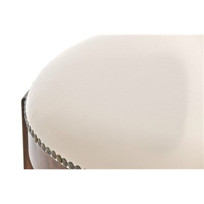 Taburete de Madera CLEVER, En Piel Crema y Patas en Marrón, Estilo Clásico 100% Exclusivo