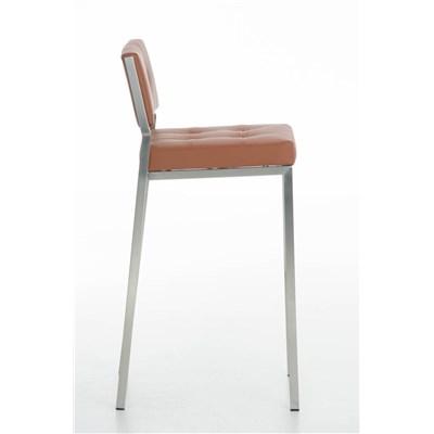 Taburete de Bar o Cocina ELENA, estructura en acero inoxidable, asiento acolchado en piel marrón claro