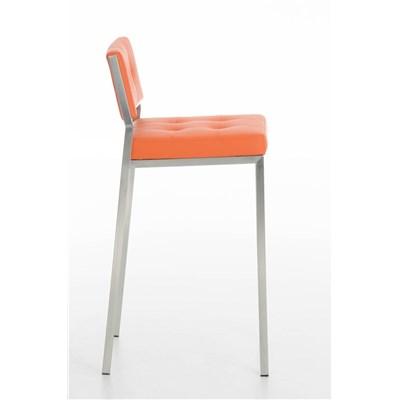 Taburete de Bar o Cocina ELENA, estructura en acero inoxidable, asiento acolchado en piel naranja