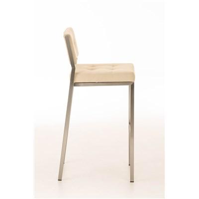 Taburete de Bar o Cocina ELENA PLUS, estructura en acero inoxidable, asiento acolchado en tela crema