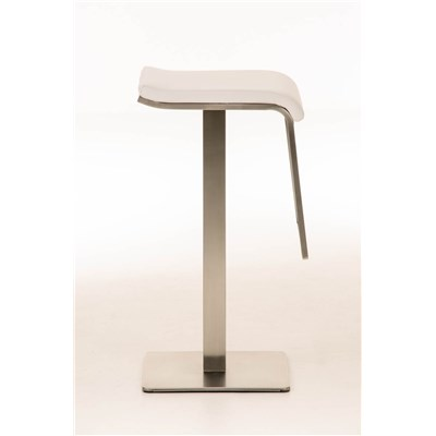 Taburete de Bar LAMA 78, estructura en acero, diseño ergonómico, en piel color blanco