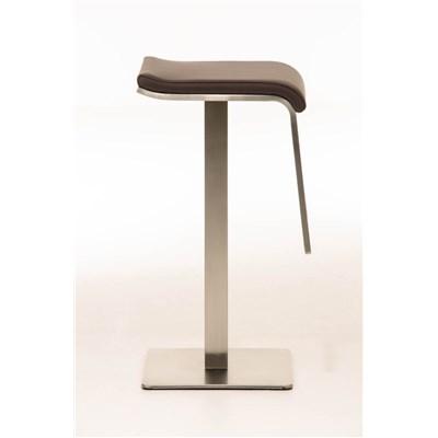 Taburete de Bar LAMA 78, estructura en acero, diseño ergonómico, en piel color marrón