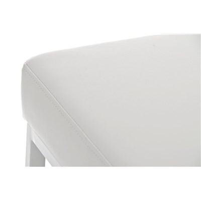 Taburete para Barra o Bar CANADA 85cm, Asiento en Piel Blanca y Estructura en Metal Blanco
