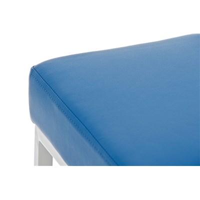 Taburete para Barra o Bar CANADA 80cm, Asiento en Piel Azul, Estructura en Metal Blanco