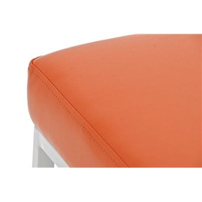 Taburete para Barra o Bar CANADA 80cm, Asiento Piel Naranja y Estructura en Metal Blanco