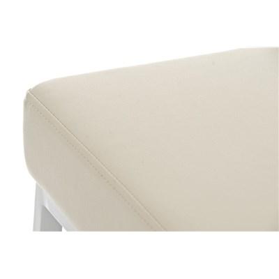 Taburete para Barra o Bar CANADA 85cm, Asiento en Piel Crema y Estructura en Metal Blanco