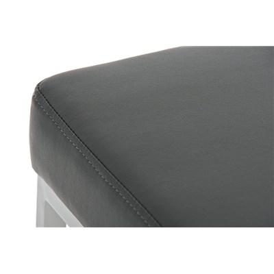Taburete para Barra o Bar CANADA 85cm, Asiento en Piel Gris y Estructura en Metal Blanco