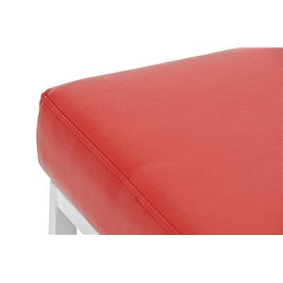 Taburete para Barra o Bar CANADA 85cm, Asiento en Piel Roja y Estructura en Metal Blanco