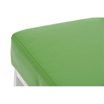 Taburete para Barra o Bar CANADA 85cm, Asiento en Piel Verde y Estructura en Metal Blanco
