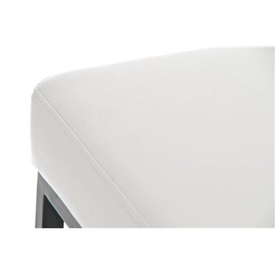 Taburete para Barra o Bar CANADA 80cm, Asiento en Piel Blanca y Estructura Metálica en Negro