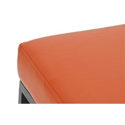 Taburete para Barra o Bar CANADA 80cm, Asiento en Piel Naranja y Estructura Metálica en Negro