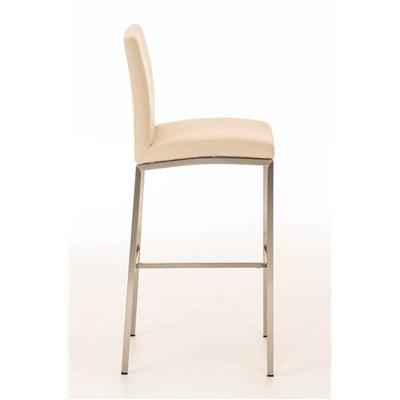 Taburete de Bar LINCON Tela, estructura de acero inoxidable, muy resistente, tapizado en tela crema