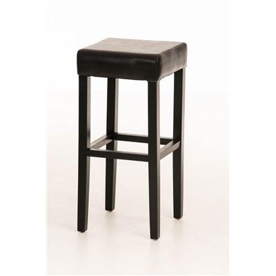 Taburete de Madera diseño LOLA, altura asiento 80cm en madera negra y piel color negro