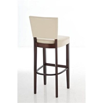 Taburete de madera MESSI, diseño clásico, asiento y respaldo acolchados en piel, color crema