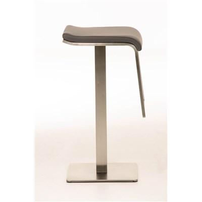 Taburete de Bar LAMA 85, estructura en acero, diseño ergonómico, en piel color gris