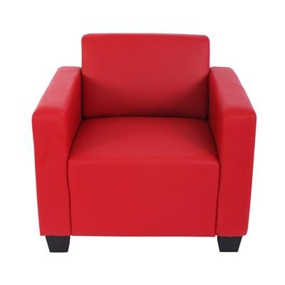 Sillón Modular LYON, Gran diseño, con pieza auxiliar Otomano, polipiel roja
