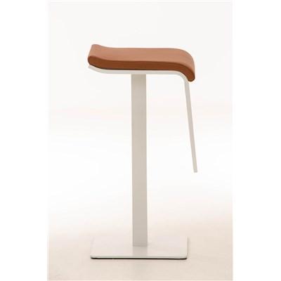 Taburete de Bar LAMA 78, estructura metálica en blanco, diseño ergonómico, en piel color marrón claro