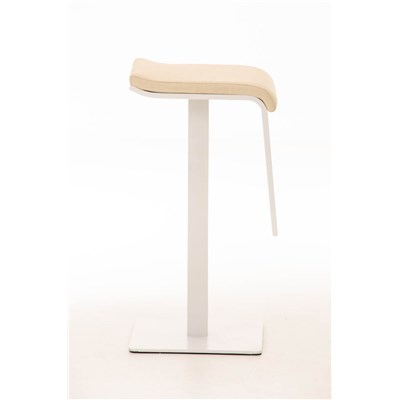 Taburete de Bar LAMA 78 Tela, estructura metálica en blanco, diseño ergonómico, en tejido color crema