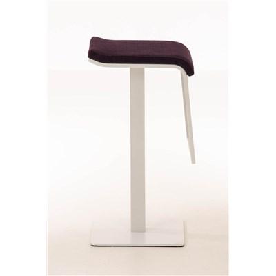 Taburete de Bar LAMA 78 Tela, estructura metálica en blanco, diseño ergonómico, en tejido color morado