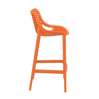 Taburete de Diseño DANIELA, perfecto para exteriores, fabricado en polipropileno color naranja