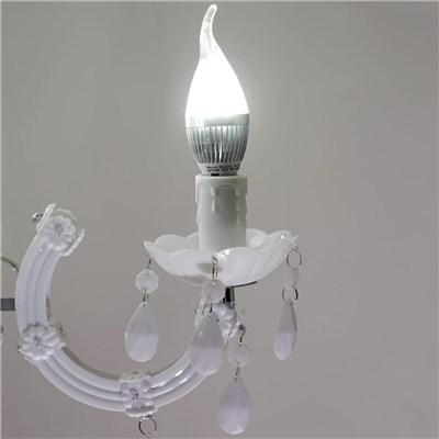 Lámpara de Araña ATENEA, 9 Puntos de Luz, Vidrio Acrílico Blanco, Bombillas LED Incluidas