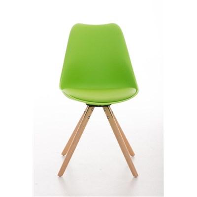 Lote 2 Sillas TAYLOR, Color Verde, Patas de Madera Claras, Asiento en Piel, Diseño Exclusivo