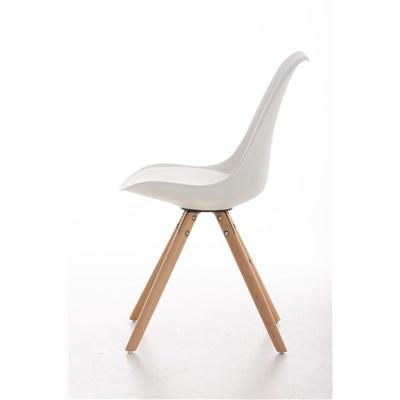 Lote 2 Sillas TAYLOR, Color Blanco, Patas de Madera Claras, Asiento en Piel, Diseño Exclusivo