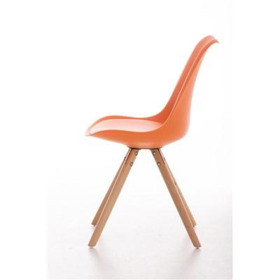 Lote 4 Sillas TAYLOR, Color Naranja, Patas de Madera Claras, Asiento en Piel, Diseño Exclusivo