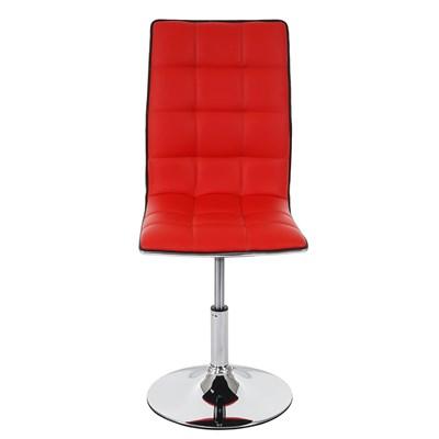 Lote 6 Sillas de Comedor o Cocina ROGER, En Piel Color Rojo, Altura Regulable, Precioso diseño con Costuras