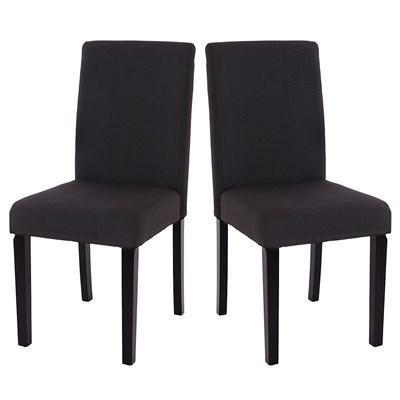 DEMO# Lote 4 Sillas de Comedor LITAU TELA, precioso diseño, tela Negra y patas negras