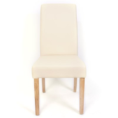 DEMO# Lote 2 Sillas de Comedor TURIN, Gran estilo y calidad, tapizadas en Piel crema y patas madera claras