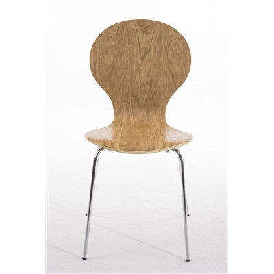 Lote 2 Sillas de Cocina o Comedor CARLO, ergonómicas, en madera y metal, modelo apilable, en Marrón roble