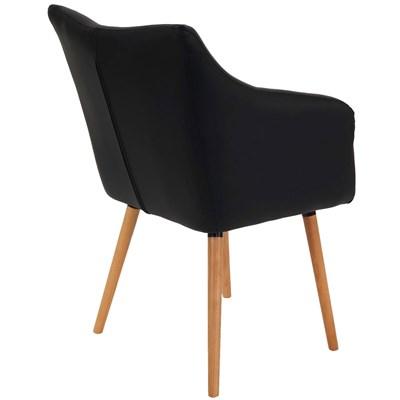 Lote de 4 sillas de Comedor CAZORLA, en Piel Negro con Patas de Madera Claras