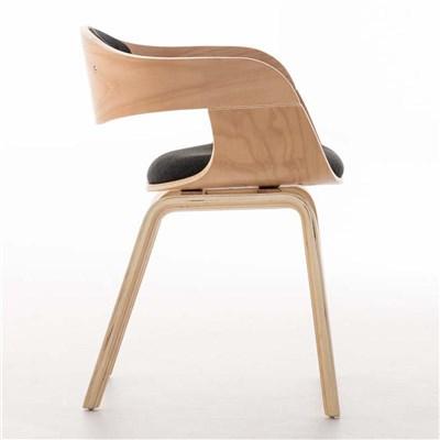 Lote de 4 sillas de Comedor BOLONIA, en Tela Gris Oscuro, Estructura de Madera color Natural