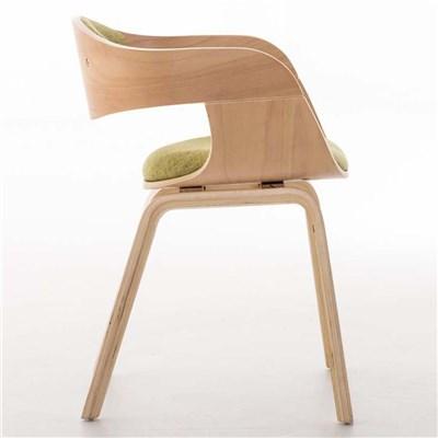 Lote de 4 sillas de Comedor BOLONIA, en Tela Verde, Estructura de Madera color Natural