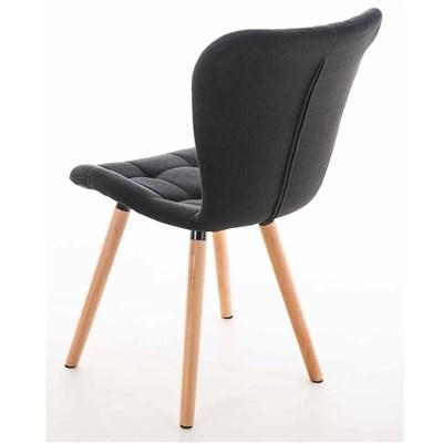 Lote de 6 sillas de Comedor PADUA, en Tela Negra, Patas de Madera color Natural