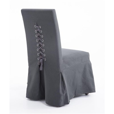Lote de 4 Sillas de Comedor CASPIO, en Tela Gris Oscuro, Estructura y patas de madera