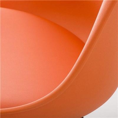 Lote de 6 Sillas de Comedor LOREN, Estructura en Plástico y Piel Naranja, Patas Blancas