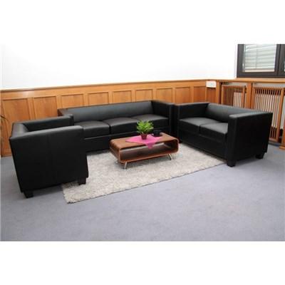 Conjunto Sofas LILLE 1 Sofa 3 Plazas + 1 Sofá 2 Plazas + 1 Sofá individual, en cuero negro