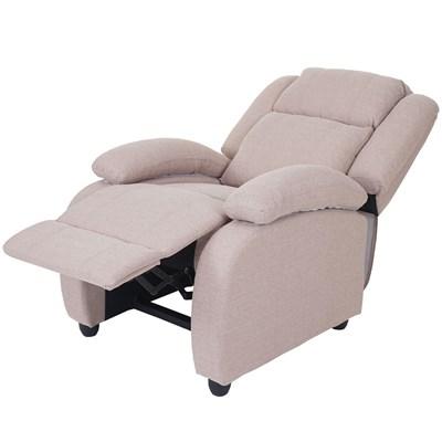 Sillón Relax Reclinable LINCON TELA, Color Crema, Gran acolchado y Comodidad