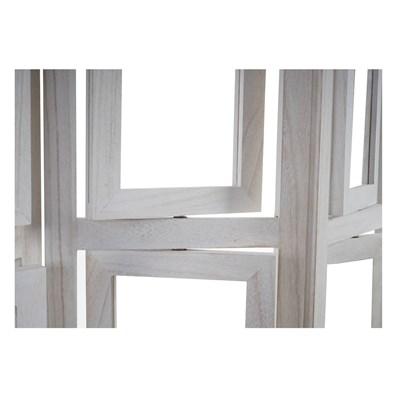 Biombo 4 paneles BIBI,  Estructura de Madera Color Blanco con Marcos para Fotografías, 160x125x2cm