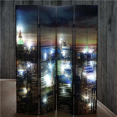 Biombo Decorativo NEW YORK, Iluminación LED incorporada, Muy Original, 180x160cm