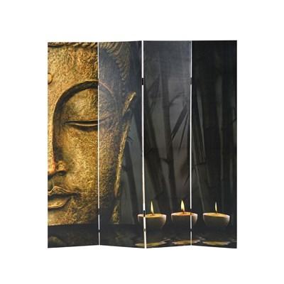 Biombo 4 paneles BUDA, Estructura de Madera, 180x160x2,5cm