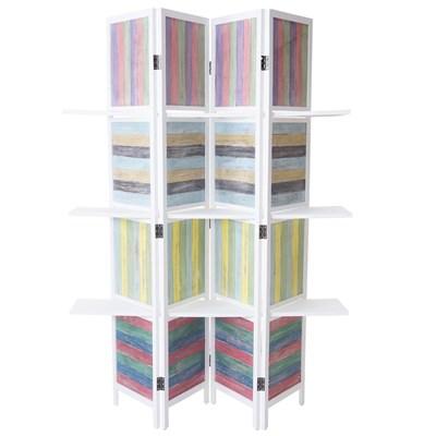 Biombo 4 paneles BORA, Estructura de Madera con Estantes, 180x152x2cm