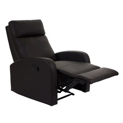 Sillón Relax KARTIA Premium, Piel Negra, Reclinable y con Función Mecedora