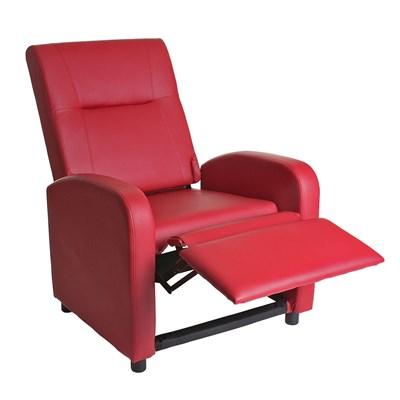 Sillón Relax Reclinable DENVER BASIC, Piel Roja, Precio Increíble