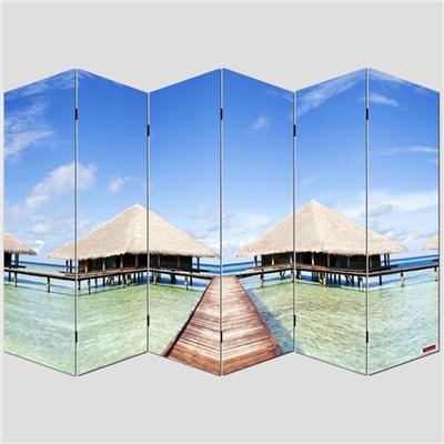 Biombo separador M68, dimensiones 180x240cm, decorado ambas caras, diseño playa