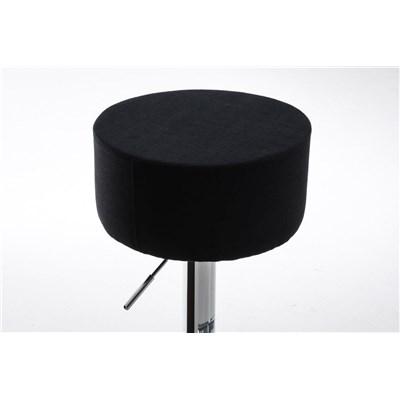 Taburete de Cocina WALSER TELA, Color Negro y Estructura Metálica, Ajustable y Giratorio